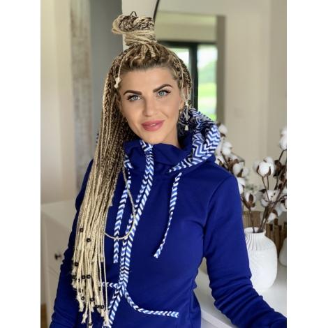 Královská modrá mikina ZIG-ZAG