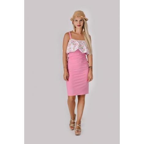 Kojo šat s volánom ružové - Pinky