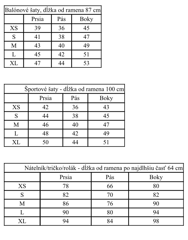 Velkostna tabulka kojooblecenie